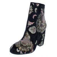 Aldo Womens Fiery Ankle Boots Velvet Embroidered - 6.5 Medium (B,M)