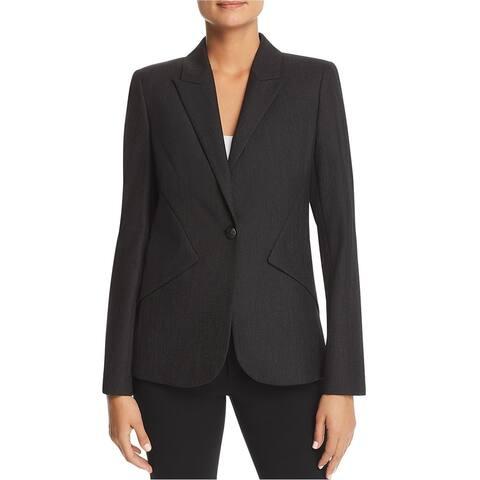 Elie Tahari Womens Allegra One Button Blazer Jacket, Black, 10