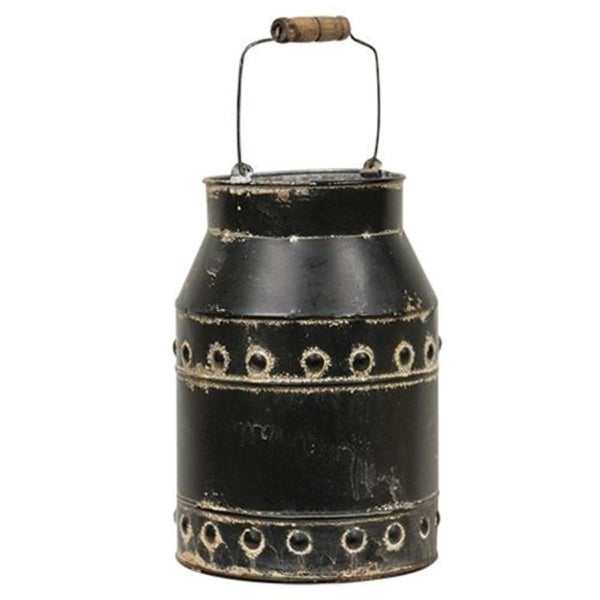 Black Distressed Milk Can With Handle