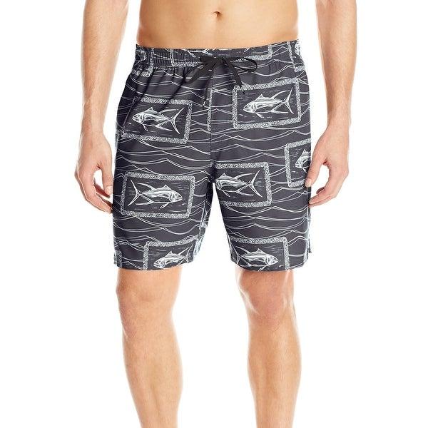 8c37bd9428 Quiksilver Black Mens XL Fish Print Drawstring Board Surf Shorts