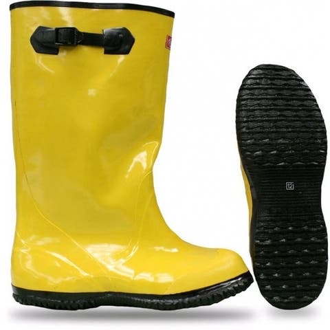 """Boss 2KP448114 Over-The-Shoe Slush Rubber Knee Boots, 17"""", Size-14, Yellow"""