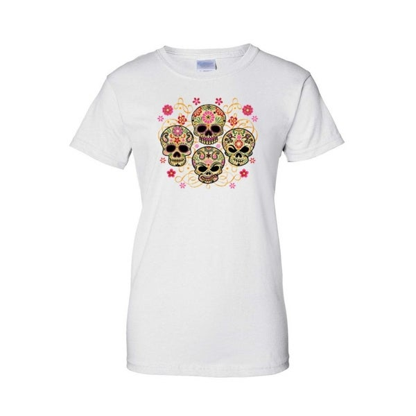 Women's Juniors T-Shirt Sugar Skulls Katrinas Four Flowered Skeleton