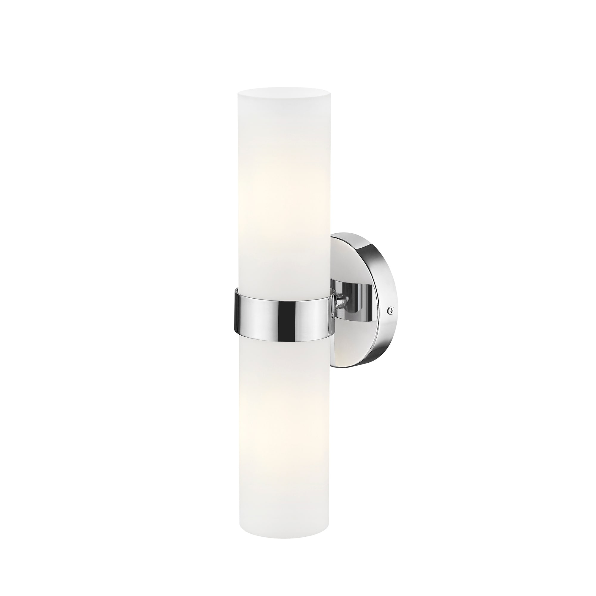 Image of: Shop Black Friday Deals On Ove Decors Romilly 2 Light Led Cylinder Wall Sconce In Chrome 14 94 H In Overstock 30925658