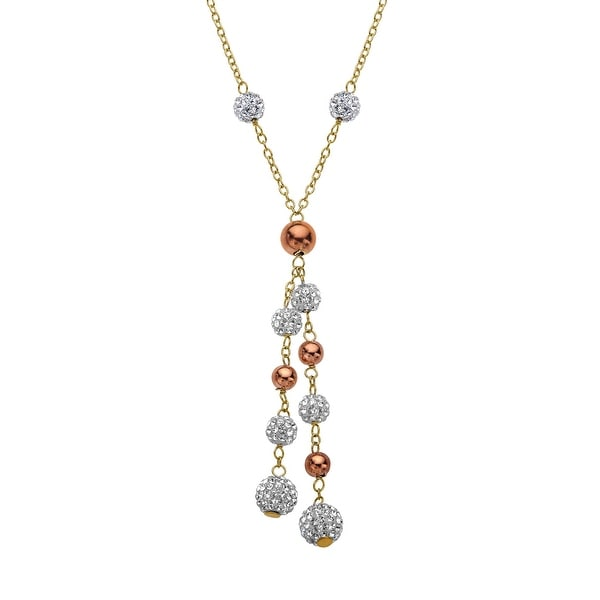 Crystaluxe Lariat Necklace with Swarovski Elements Crystals in 18K Yellow & Pink Gold-Plated Sterling Silver