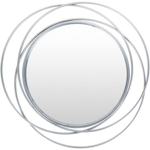 "Kindra Modern Circles Silver 24-inch Round Mirror - 24""H x 24""W"