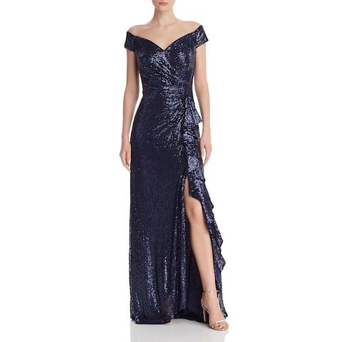 Tadashi Shoji Women's Dress Blue Size Large L Off Shoulder Sequin Gown