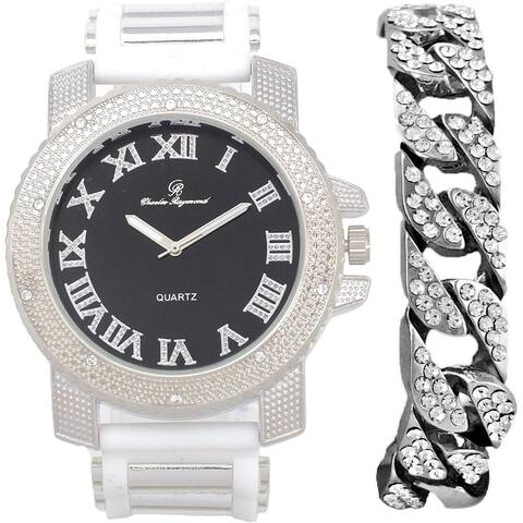 Bling-ed Out Hip Hop Rubber Bullet Band Mens Watch and Iced Cuban Bracelet - RWC2021