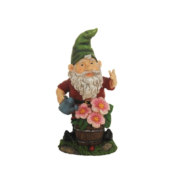 "13"" Gnome with Flowers Solar Powered Lighted Outdoor Patio Garden Statue"