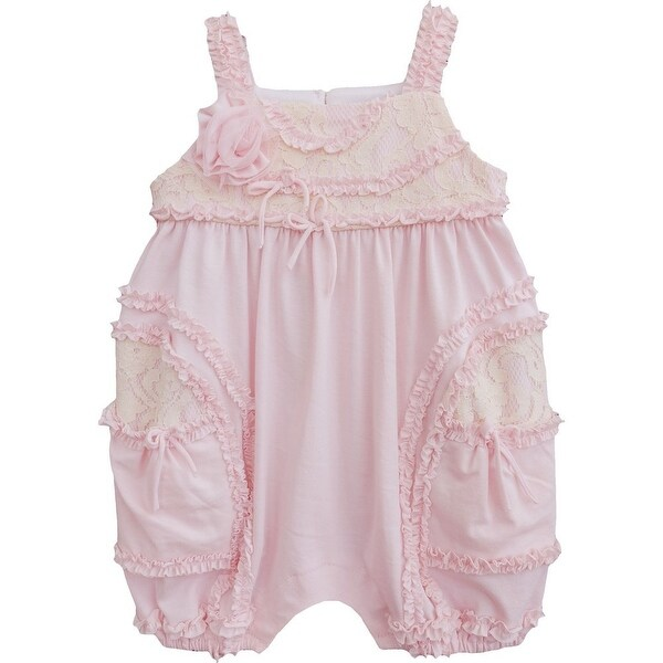 Isobella & Chloe Baby Girls Light Pink Lace Flower Ruffles Layla Romper 3M-24M