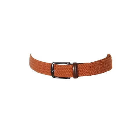 Perry Ellis Men'S Orange Webbed Leather-Trim Belt 30-32 S
