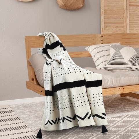 Modern Boho Tufted Stripe Cotton Throw Blanket