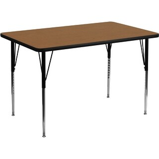 Offex 24''W x 48''L Rectangular Activity Table with Oak Thermal Fused Laminate Top and Standard Height Adjustable Legs