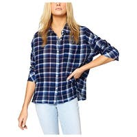Sanctuary Womens Button-Down Top Adjustable Sleeves Plaid