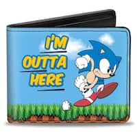 Sonic Classic Sonic I'M Outta Here + Sonic Ring Pose Bi Fold Wallet - One Size Fits most