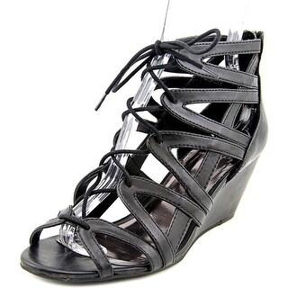 Material Girl Hera Women Open Toe Synthetic Black Wedge Sandal