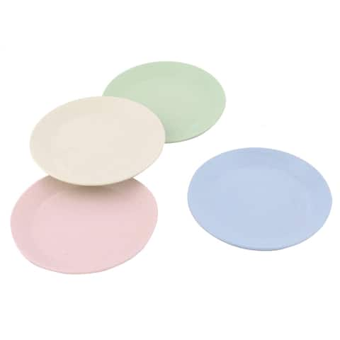 Household Round Design Food Snack Dessert Dish Plate Assorted Color 4 Pcs