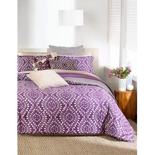 Bar III Viola Purple and White 2 Euro Pillow Shams 200 Thread Count