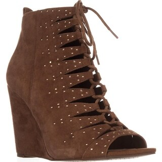 Jessica Simpson Barlett Strappy Studded Wedge Pumps, Canela Brown
