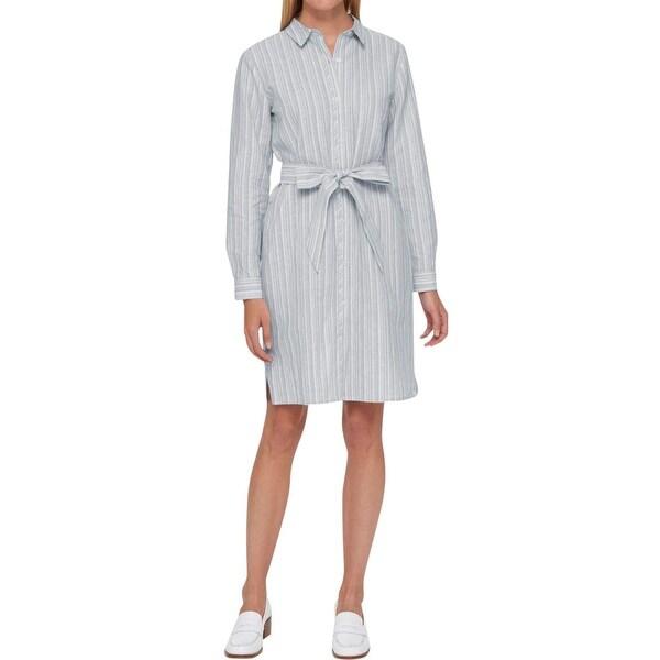 dee6baf874 Shop Tommy Hilfiger Womens Shirtdress Linen Striped - Free Shipping ...