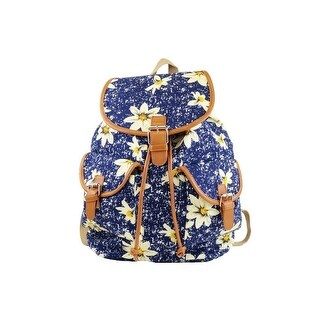 Hearty Trendy Girls Navy Ivory Daisy Print Flap Pockets Cotton Canvas Backpack