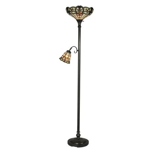 Dale Tiffany TR10022 Victorian 2 Light Tiffany Torchiere with Side Lamp with Art Glass Shades