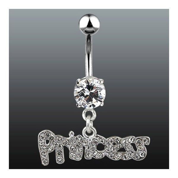 "Navel Belly Button Ring with Gem & Dangle Princess - 14GA 3/8"" Long"