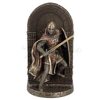 Armored Maltese Crusader Sword & Shield Guarding Door Bookend - Bronze