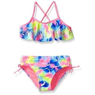 Breaking Waves Girls 7-16 Marble Bikini - ROYAL BLUE