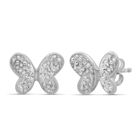 JewelonFire Accent White Diamond Butterfly Earring in Sterling Silver
