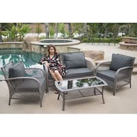 BELLEZE All Weather Outdoor 4 PC Patio Set Synthetic Wicker All Weather Material Glass Table Patio Pool Outdoors