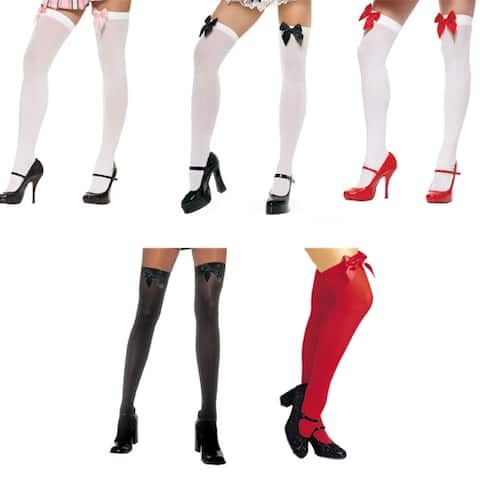 Sexy Nylon Thigh Highs with Bows for Adults - Standard - One Size