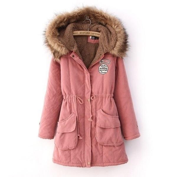 Hooded cotton jacket suede lamb coat Warm Long Coat Fur Collar