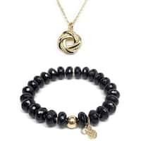 """Black Onyx 7"""" Bracelet & Love Knot Gold Charm Necklace Set"""
