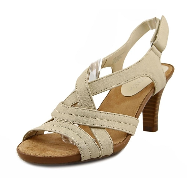 Aerosoles Wrote About Women Open-Toe Leather Ivory Slingback Sandal
