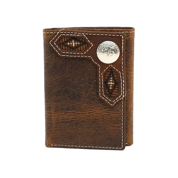 Nocona Western Wallet Mens Trifold Conchos Ribbon Inlay Brown - One size