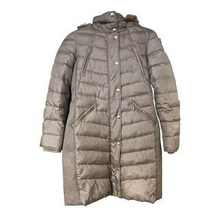 Michael Kors Faux-Fur-Trim Hooded Down Coat Pearl Small