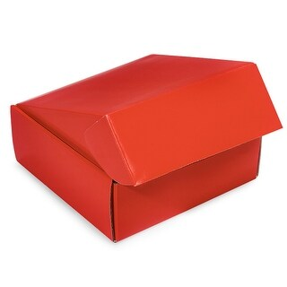 """Pack Of 6, 8 X 8 X 3"""" Red Gourmet Shipping Boxes Auto Lock Boxes 1-Piece W/Fold-Over Lid"""