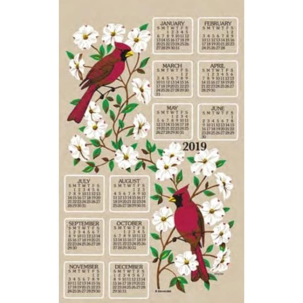 2019 Dogwood and Cardinal Towel Calendar, Kitchen Towel by Kay Dee Designs