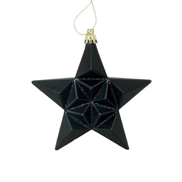 "12ct Matte Jet Black Glittered Star Shatterproof Christmas Ornaments 5"""