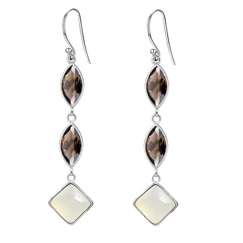 Moonstone, Smoky Quartz Sterling Silver Square Dangle Earrings by Orchid Jewelry
