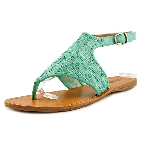 Lucky Brand Abdool Women Open Toe Synthetic Green Thong Sandal