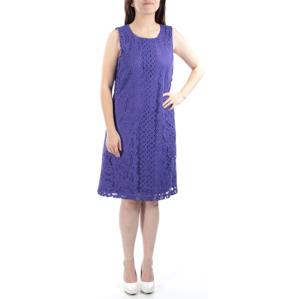 7247f8b2b7 Shop TOMMY HILFIGER Womens Purple Lace Detail Sleeveless Crew Neck Knee  Length Shift Dress Size  6 - Free Shipping On Orders Over  45 - Overstock -  21305052