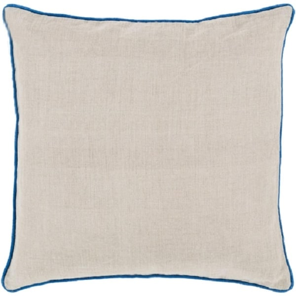 "20"" Light Tan with Royal Blue Piped Trim Decorative Throw Pillow - Down Filler"