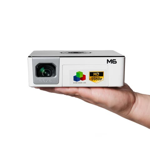 AAXA M6 Full HD Micro LED Projector with Battery, Native 1920x1080p FHD Resolution, 1200 Lumens, 30k Hour LEDs, Media Player