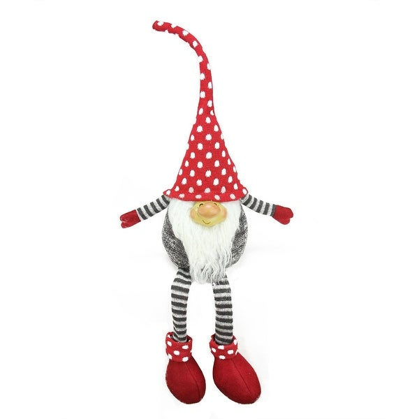 "24"" Gray and Red Portly Smiling Hanging Leg Gnome Decoration with Polka-Dot Snow Cap"