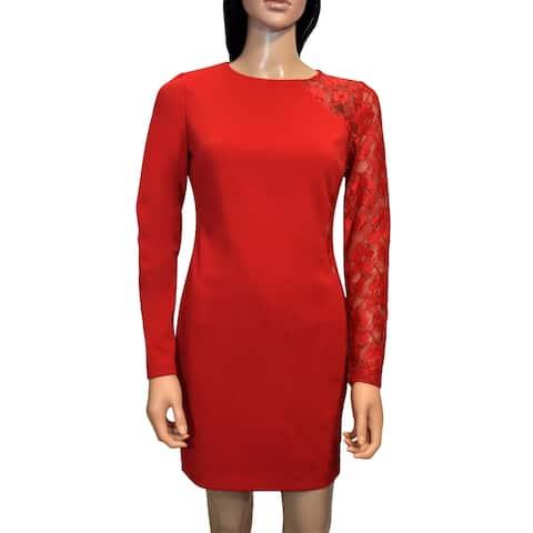 bebe Red Detailed Sheath Dress