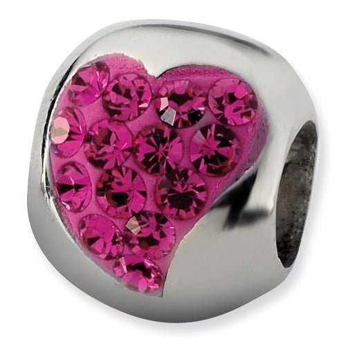 Sterling Silver Reflections Pink Graduated Crystal Heart Bead