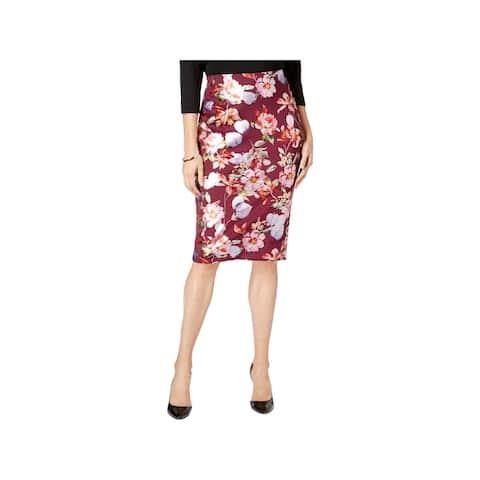 ECI Womens Pencil Skirt Metallic Floral Print