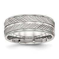 Stainless Steel Polished Grooved Ring (8 mm) - Sizes 7 - 13