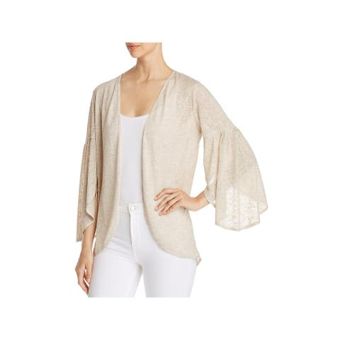Status by Chenault Womens Cardigan Top Open Front Bell Sleeves